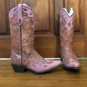 Pink Cowboy Boots Rocky 7.5 Medium Distressed